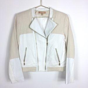 Ellen Tracy MOTO Jacket w/ Leather Trim